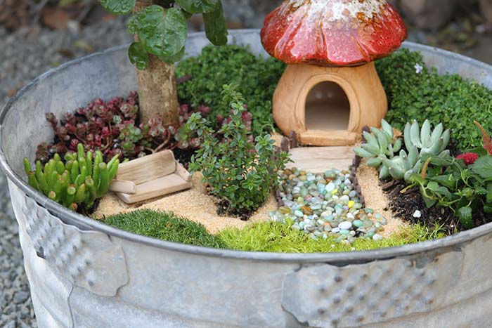 DIY Fairy Garden Metal Bucket #fairygarden #diy #decorhomeideas