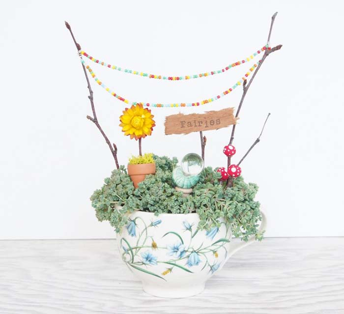 DIY Teacup Fairy Garden #fairygarden #diy #decorhomeideas