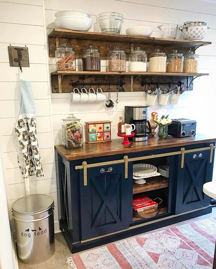 Dark Blue Coffee Station #coffeebar #coffeestation #decorhomeideas