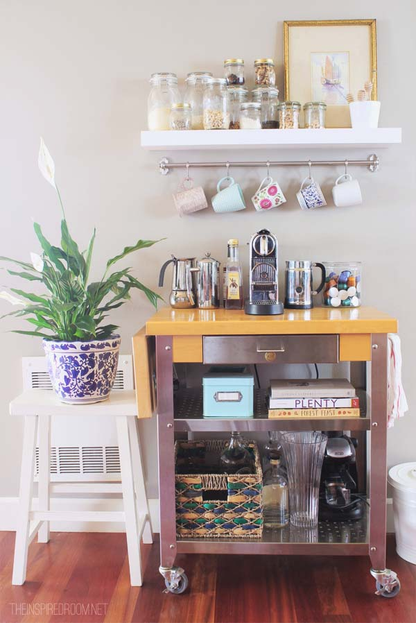 Easy Coffee Cart DIY Project #coffeebar #coffeestation #decorhomeideas