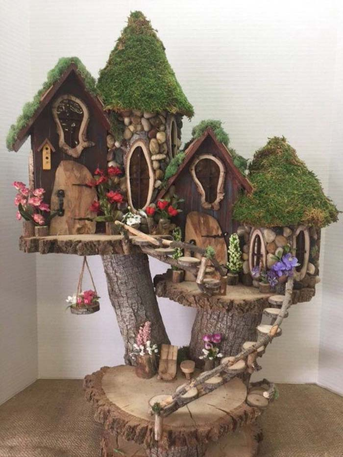 Elevated Tree Log Fairy Village #fairygarden #diy #decorhomeideas