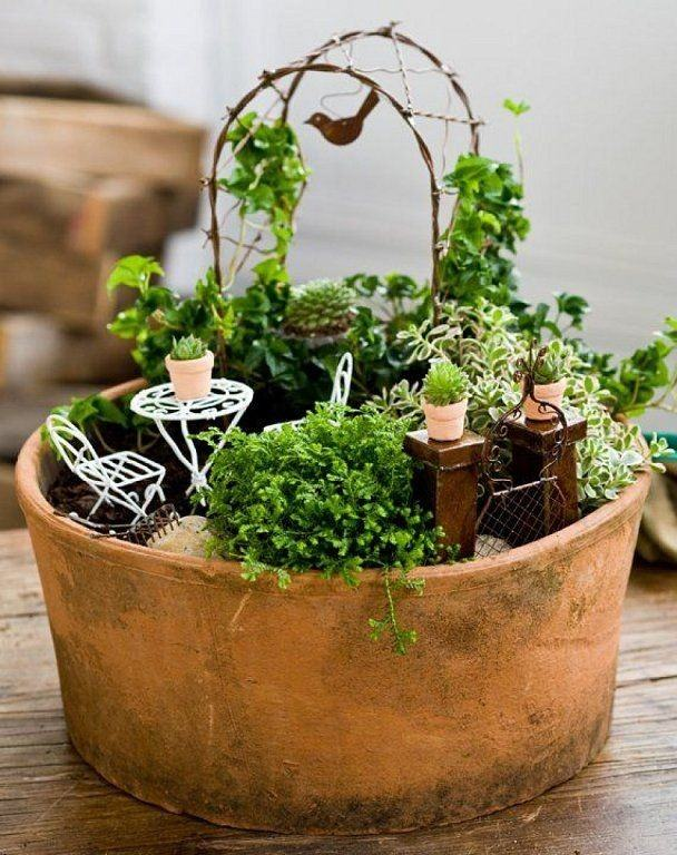 Fairy Garden With Trellis #fairygarden #diy #decorhomeideas