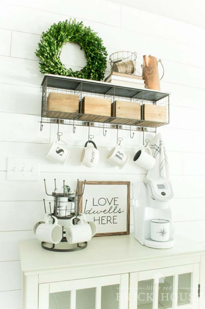 Farmhouse Coffee Bar #coffeebar #coffeestation #decorhomeideas