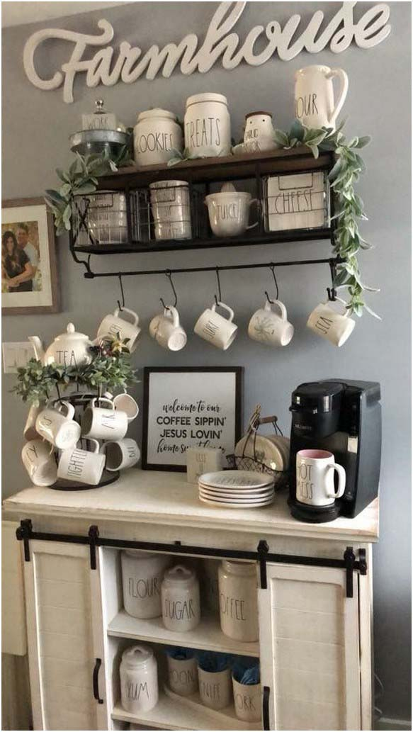 Farmhouse Coffee Station #coffeebar #coffeestation #decorhomeideas