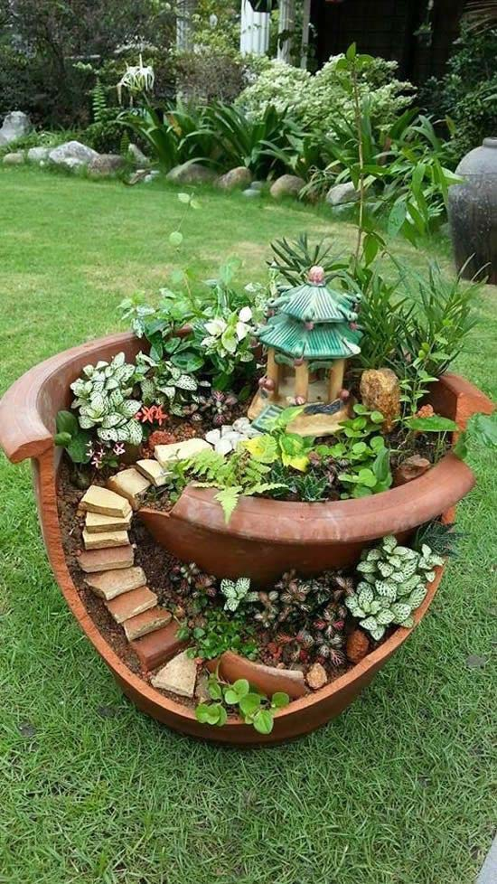 DIY Fairy Garden From Flower Pot #fairygarden #diy #decorhomeideas