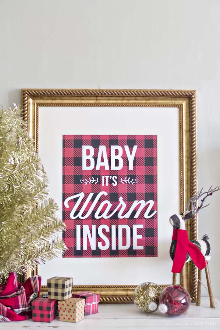 Free Printable Buffalo Check Baby Its Warm Inside #Christmas #buffalocheck #diy #decorhomeideas