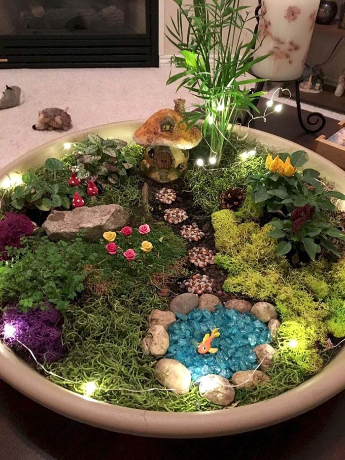 Gorgeous Indoor Fairy Garden #fairygarden #diy #decorhomeideas