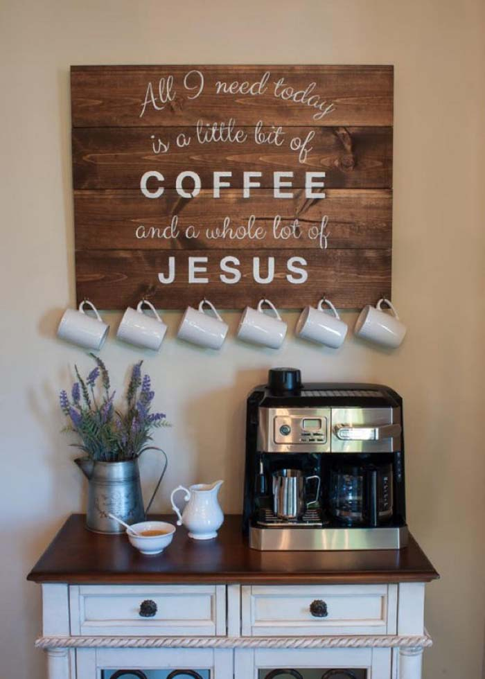 Inspirational Quote Coffee Station #coffeebar #coffeestation #decorhomeideas