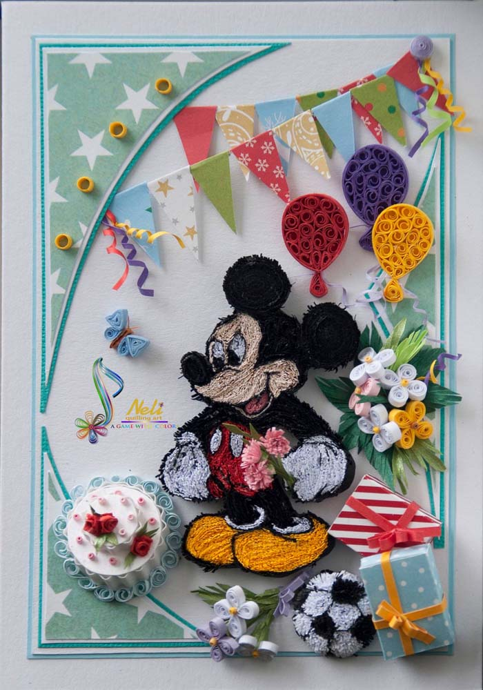 Mickey Mouse Paper Quilling Cards