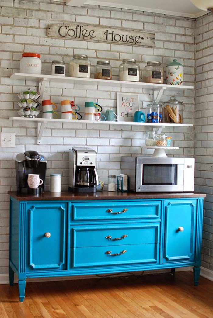 Kitchen Buffet With Coffee Bar #coffeebar #coffeestation #decorhomeideas