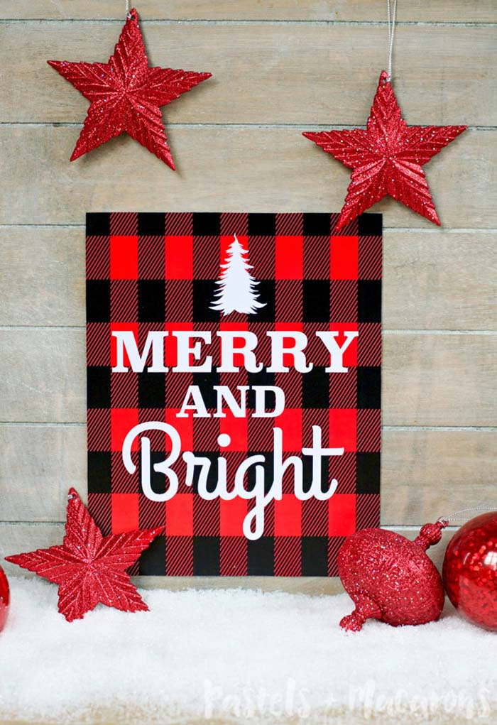 Merry and Bright Printable #Christmas #buffalocheck #diy #decorhomeideas