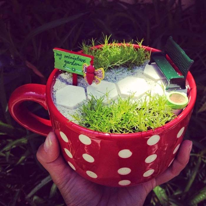 Miniature Garden In a Cup #fairygarden #diy #decorhomeideas