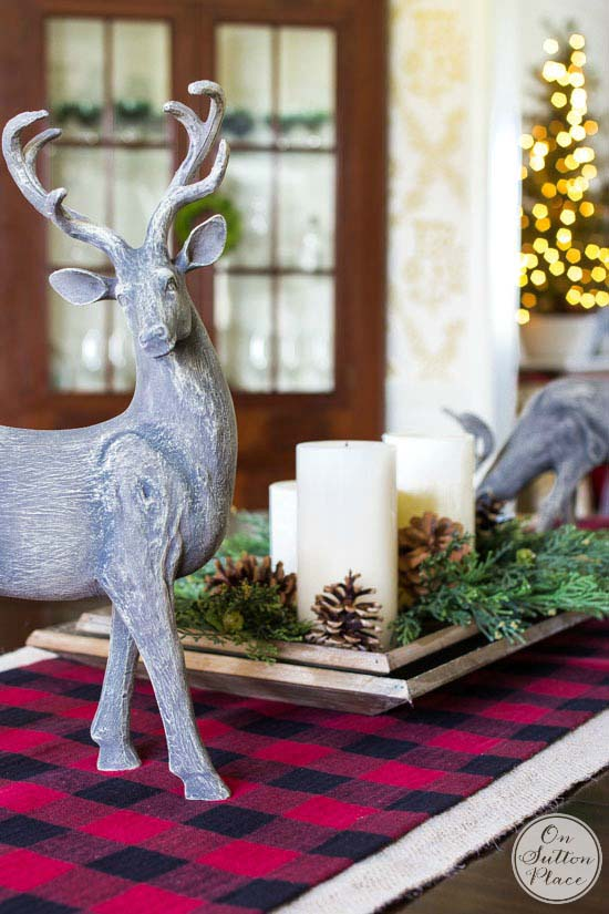 No Sew Buffalo Plaid Table Runner #Christmas #buffalocheck #diy #decorhomeideas
