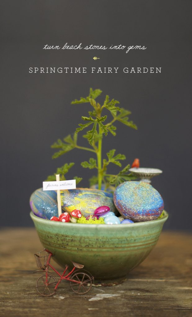 Painted Rocks Springtime Fairy Garden #fairygarden #diy #decorhomeideas