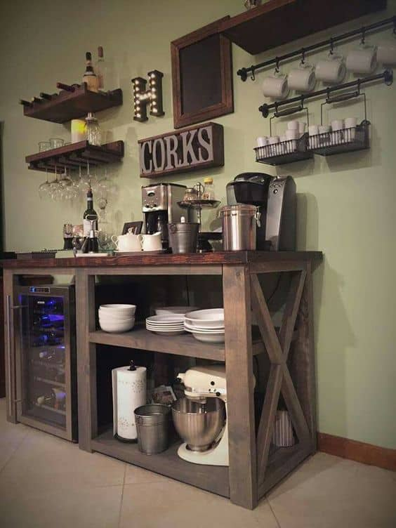 Reclaimed Wood Coffee Bar #coffeebar #coffeestation #decorhomeideas