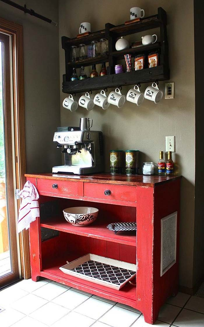 Repurposed Cart Coffee Bar #coffeebar #coffeestation #decorhomeideas