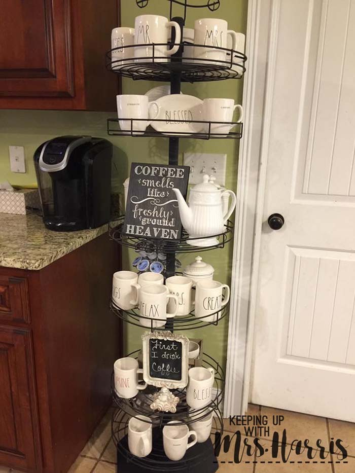 Round Wire Rack Coffee Station #coffeebar #coffeestation #decorhomeideas