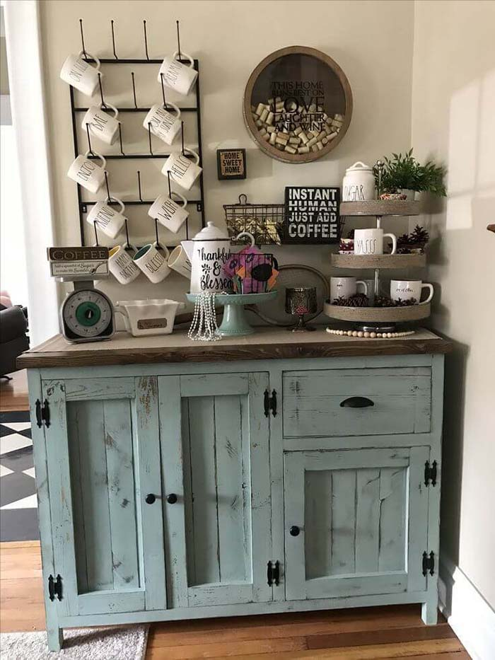 Rustic Cabinet With Mugs Rack #coffeebar #coffeestation #decorhomeideas