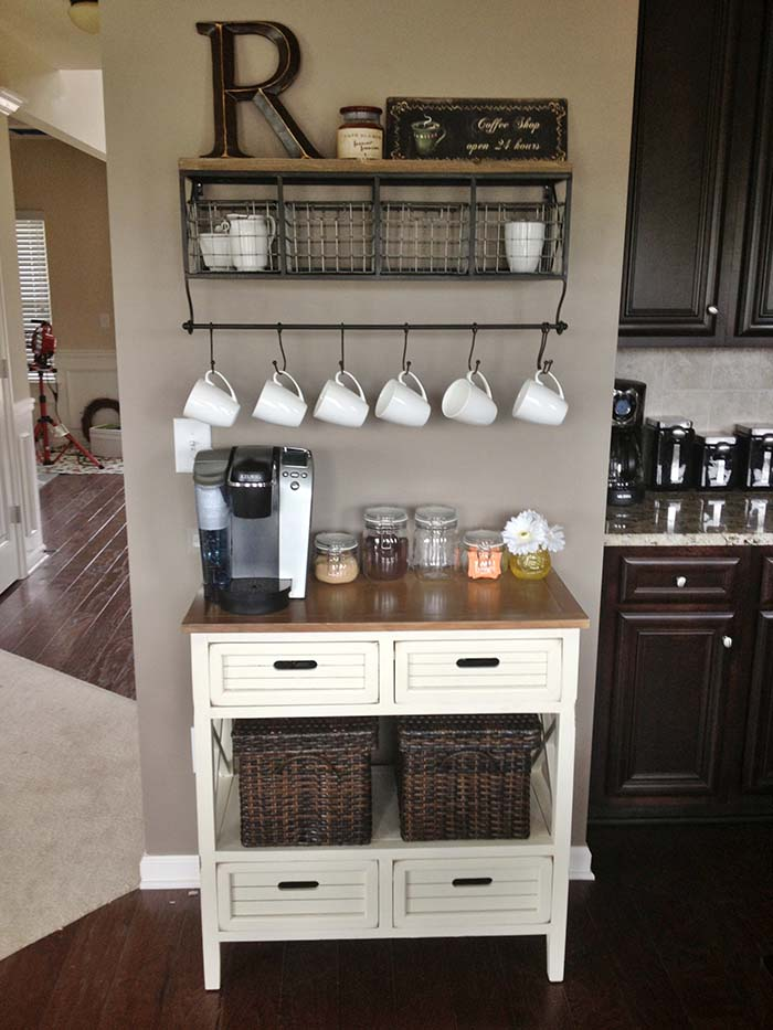 Simple Farmhouse Coffee Station #coffeebar #coffeestation #decorhomeideas