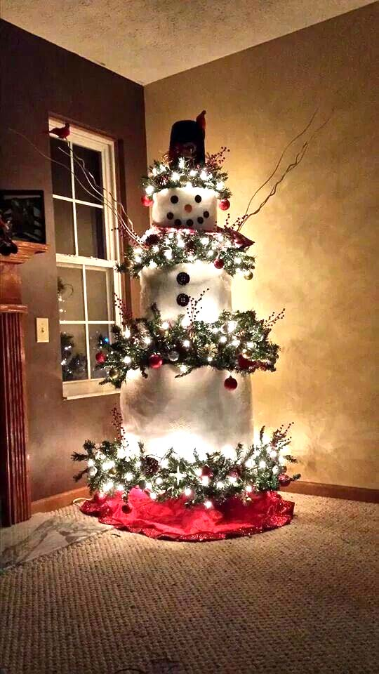Snowman Christmas Tree #Christmas #trees #decorhomeideas