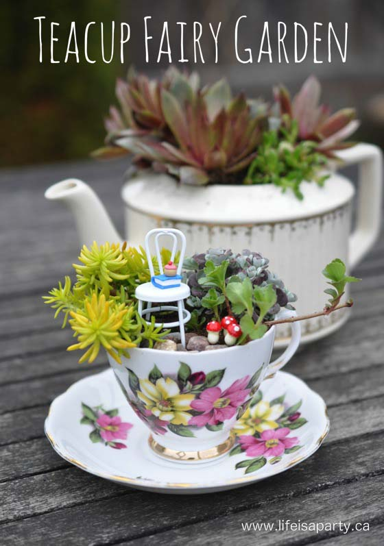Teacup Fairy Garden #fairygarden #diy #decorhomeideas