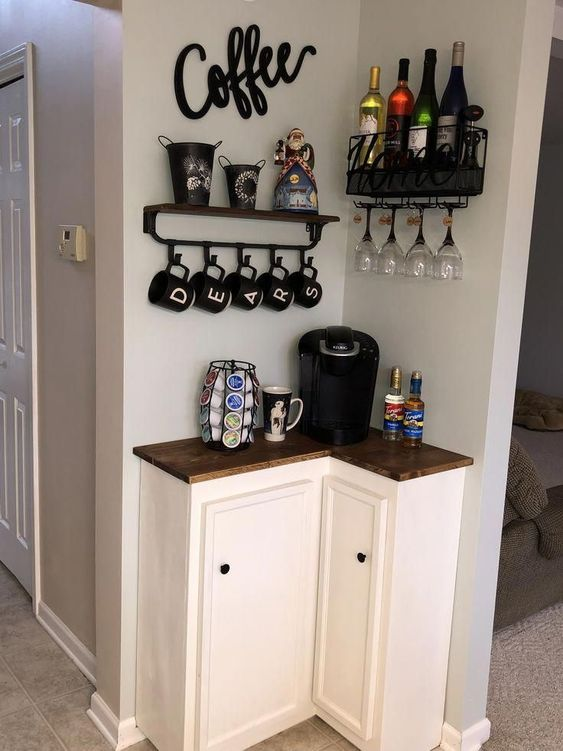Tiny Space Corner Coffee Bar #coffeebar #coffeestation #decorhomeideas