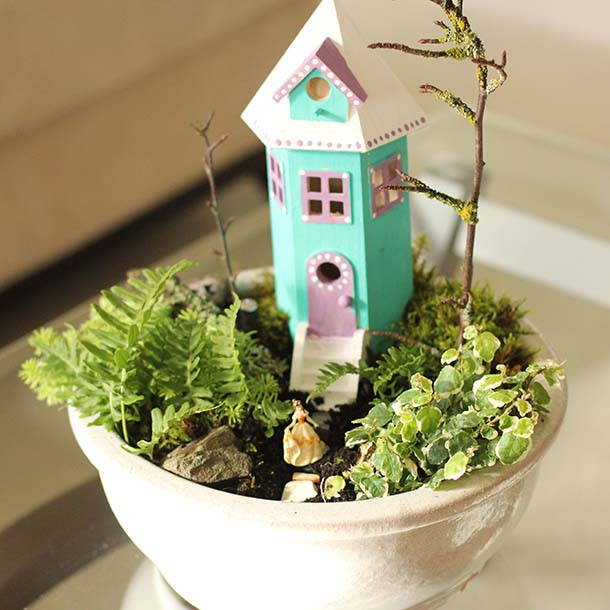 Tower House Fairy Garden #fairygarden #diy #decorhomeideas