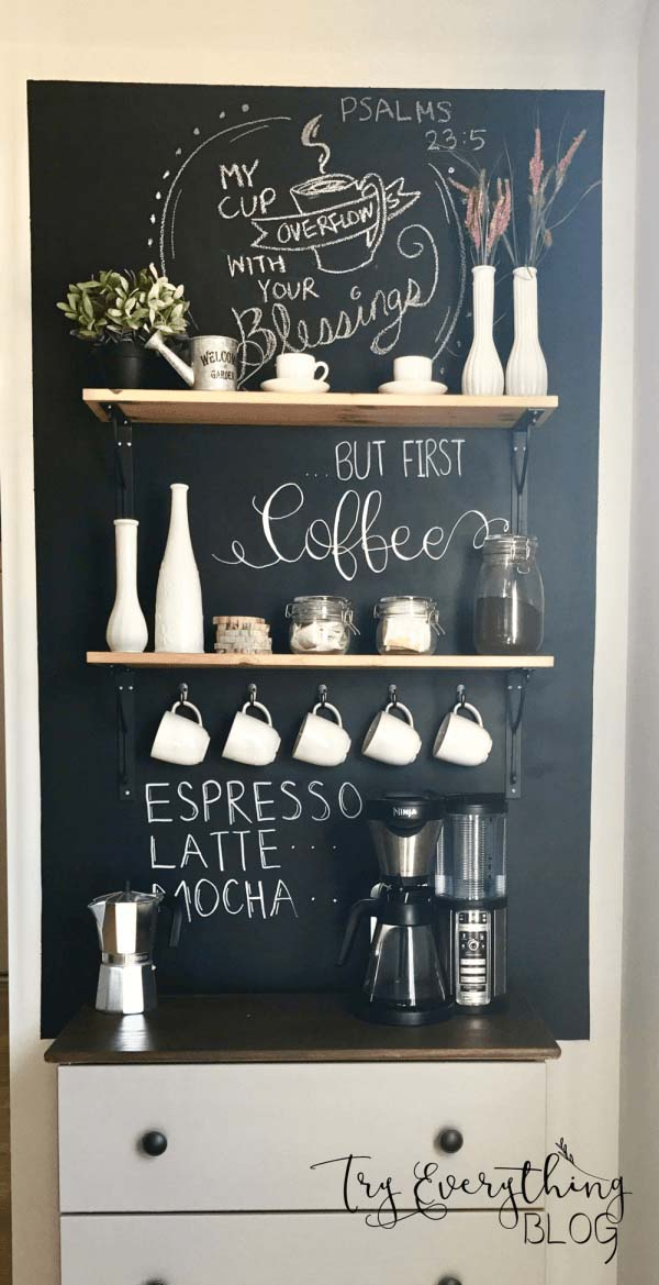 Transforming Corner Into Coffee Bar #coffeebar #coffeestation #decorhomeideas