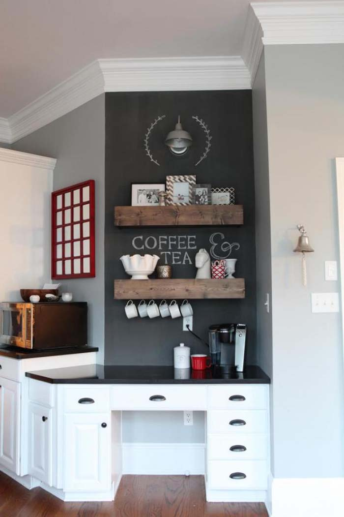 Turn Desk Into Coffee Station #coffeebar #coffeestation #decorhomeideas