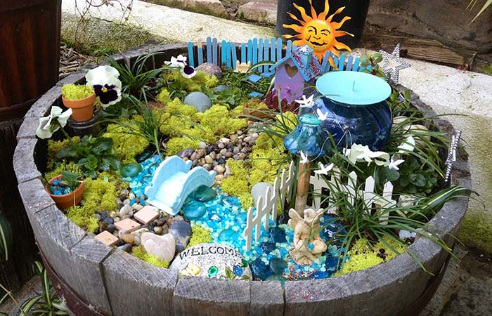 Turquoise Fairy Garden Ideas #fairygarden #diy #decorhomeideas