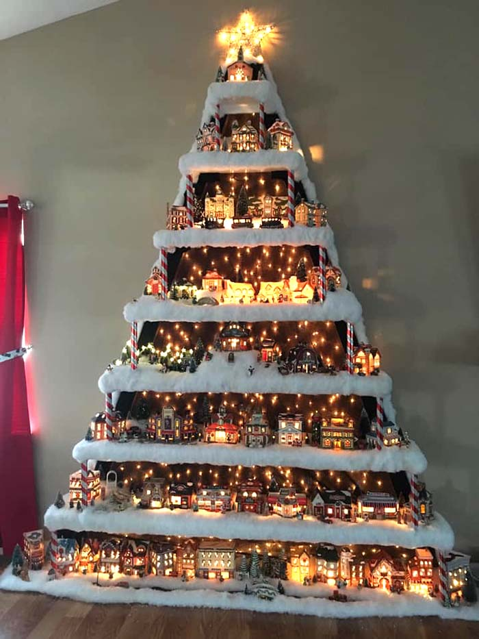 Wall Christmas Village Tree #Christmas #trees #decorhomeideas