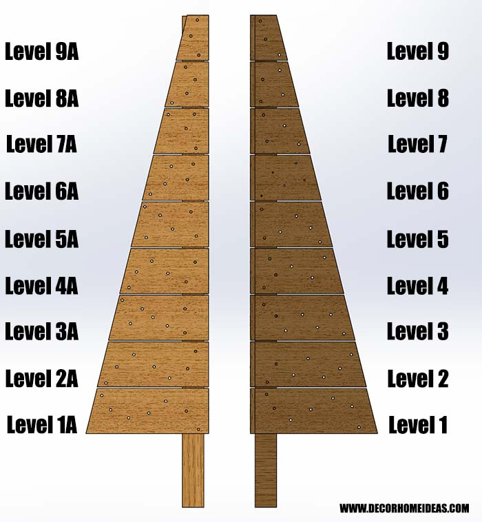 Wooden Christmas Tree Levels