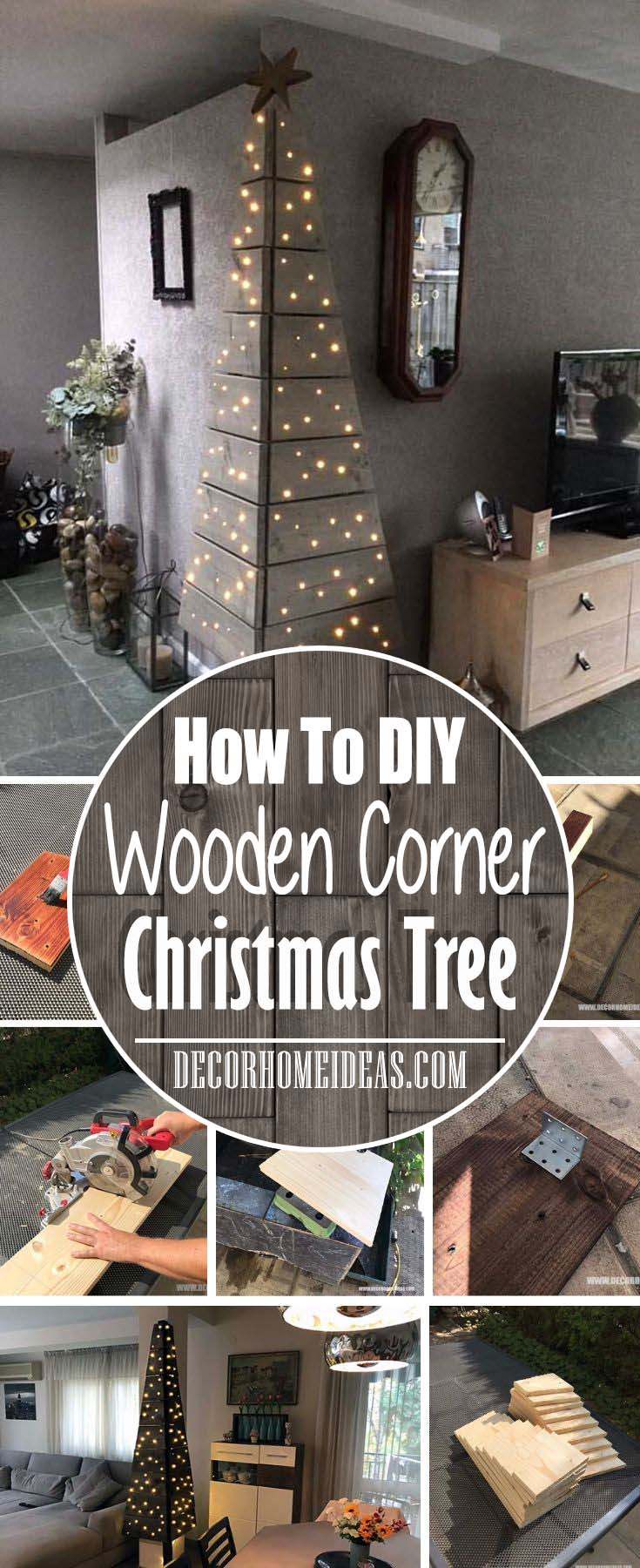 How To DIY Wooden Corner Christmas Tree. Step by step instructions, materials and tools #Christmas #diy #Christmastree #decorhomeideas