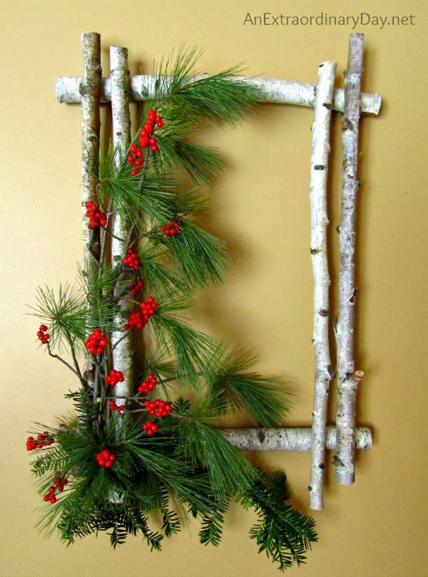 Birch Evergreen Wreath #Christmas #natural #decoration #decorhomeideas