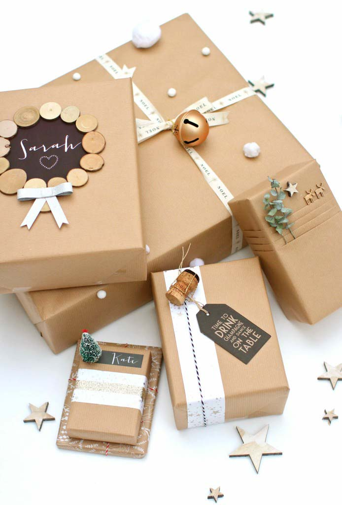Brown Paper Packages Tied Up with String #Christmas #diy #gift #wrapping #decorhomeideas