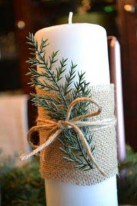Burlap Evergreen Candle #Christmas #natural #decoration #decorhomeideas