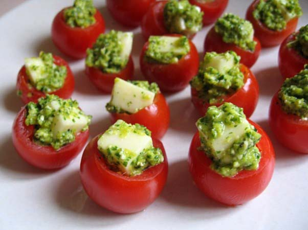 Cherry Tomatoes Filled with Pesto and Cheese