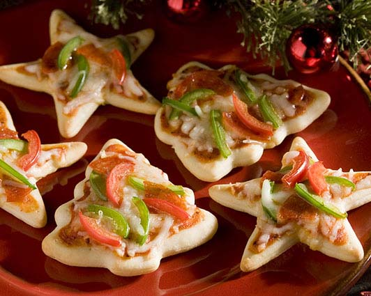 Christmas Cookie Cutter Mini Pizzas