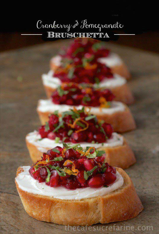 Cranberry and Pomegranate Bruschetta