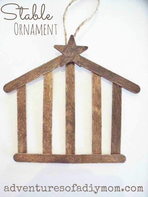DIY Stable Nativity Ornament