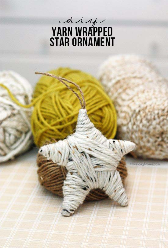 DIY Yarn Wrapped Star Ornament