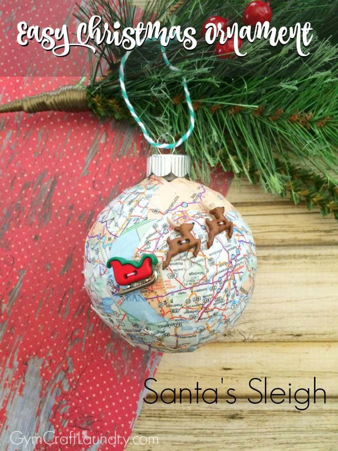 Easy Decoupage Santa Sleigh Map Ornament