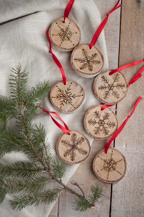 Etched Birch Ornaments