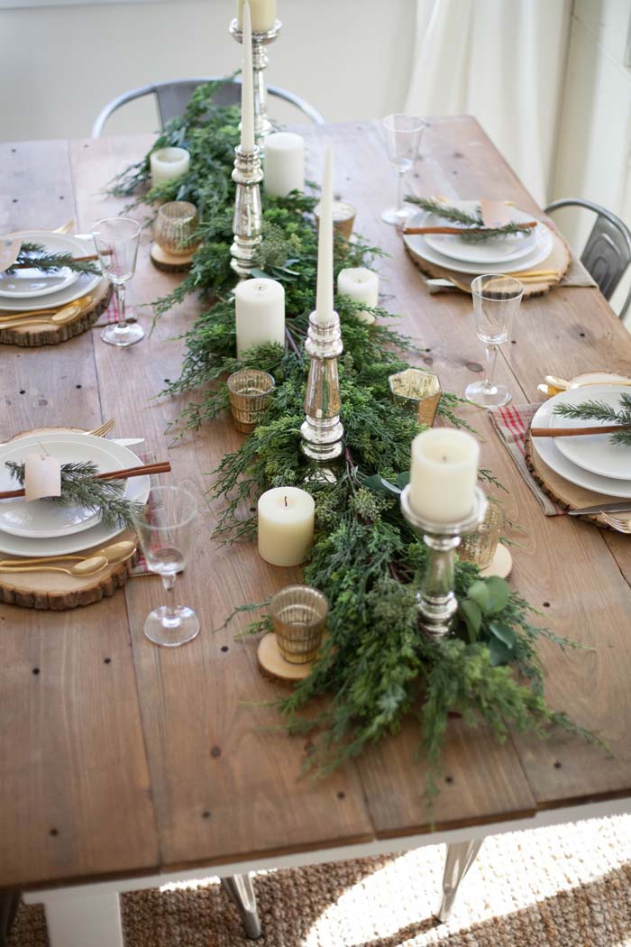 Farmhouse Christmas Tablescape #Christmas #natural #decoration #decorhomeideas