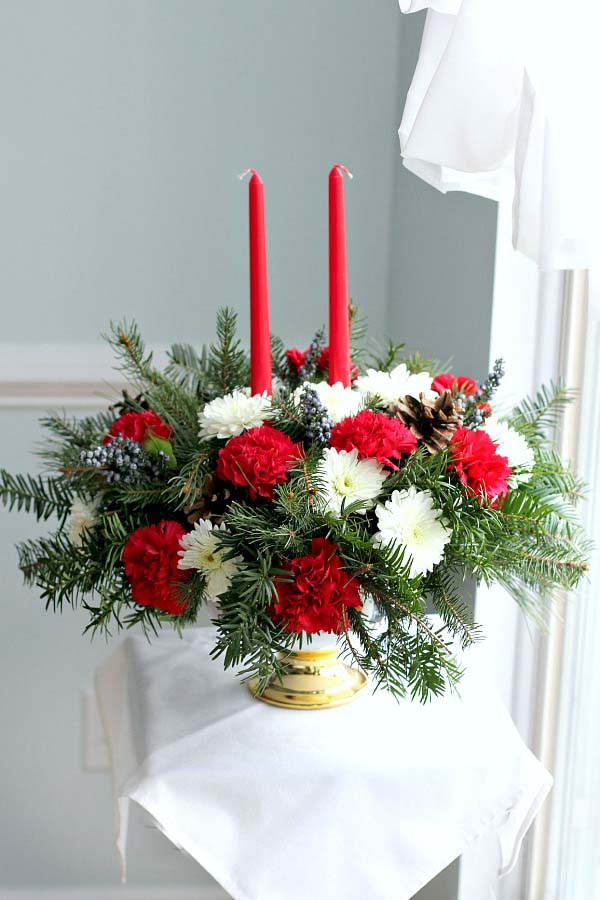 Floral Christmas Centerpiece #Christmas #natural #decoration #decorhomeideas