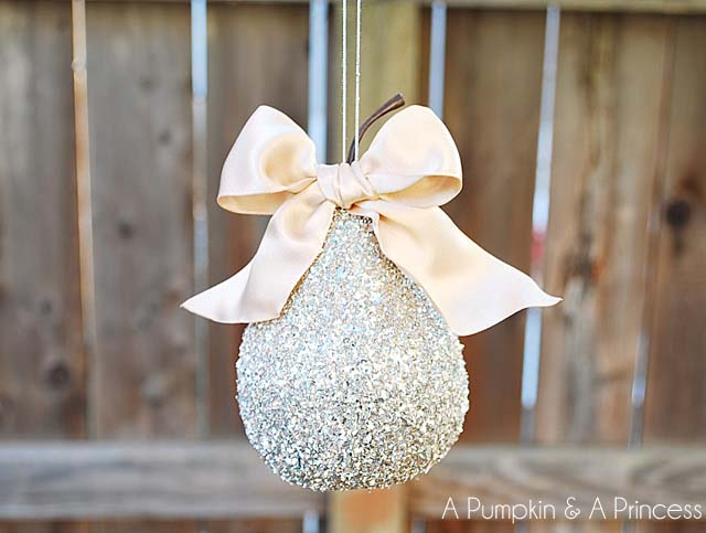 German Glass Glitter Pear Ornament