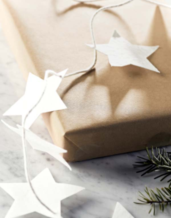 Paper Star Garland #Christmas #diy #gift #wrapping #decorhomeideas