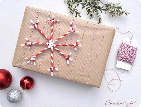 Paper Straw Snowflake #Christmas #diy #gift #wrapping #decorhomeideas