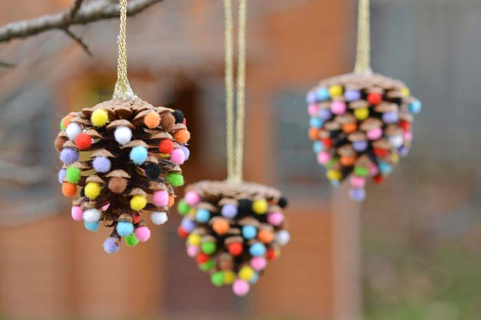 Pom Pom Pinecone Ornaments