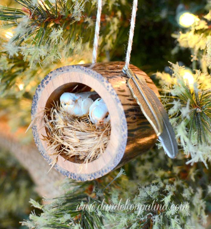 Rustic Log Bird Nest Ornament